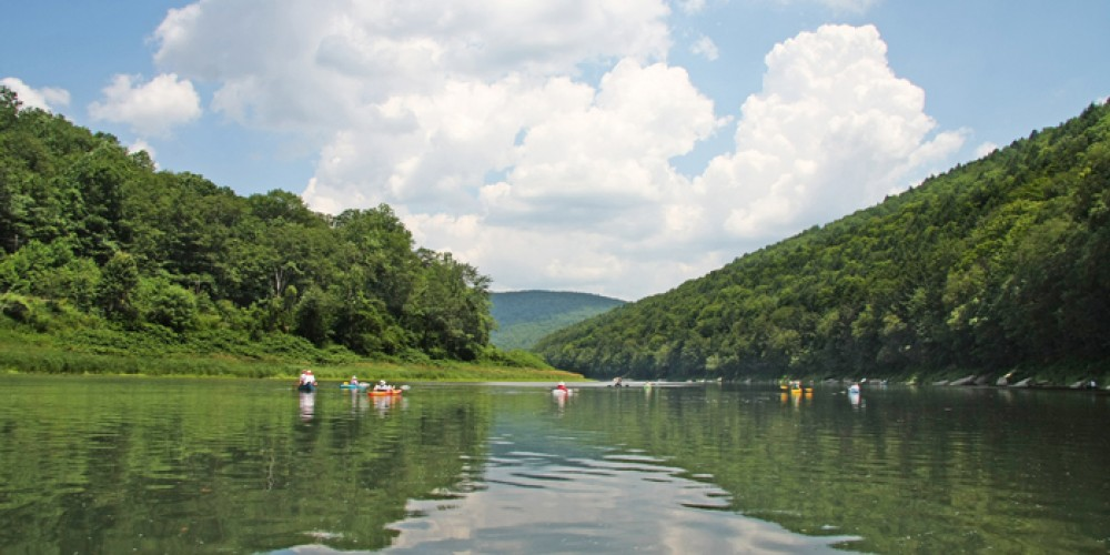 View of paddlers on the upper Delaware River south of Buckingham, Pennsylvania. – David B. Soete