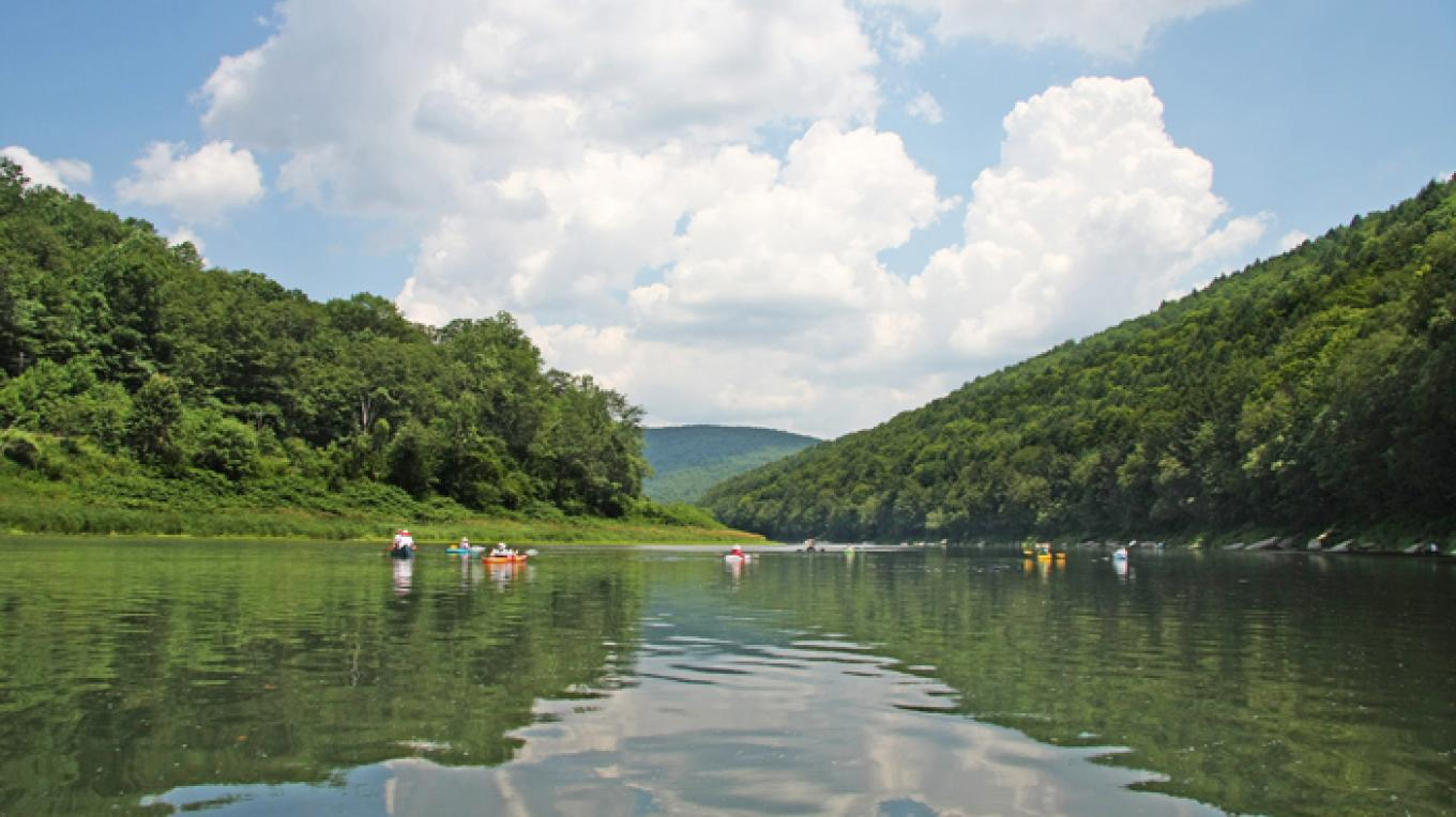 View of paddlers on the upper Delaware River south of Buckingham, Pennsylvania. – David B. Soete