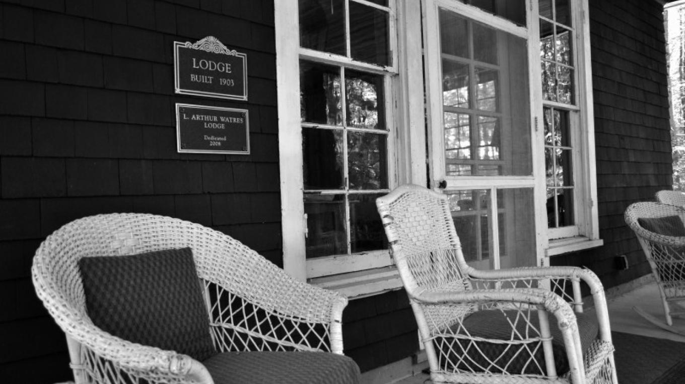 The porch of the historic Watres Lodge – Lacawac Sanctuary