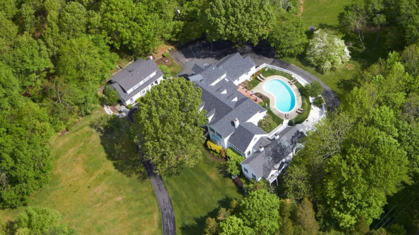 Aerial View of the Wooden Duck Bed and Breakfast's 10 acres and pool located in Kittatinny Valley State Park – Wooden Duck B&B