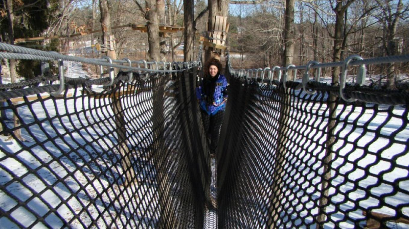 Winter climbing and zipping at Pocono TreeVentures. – David Coulter