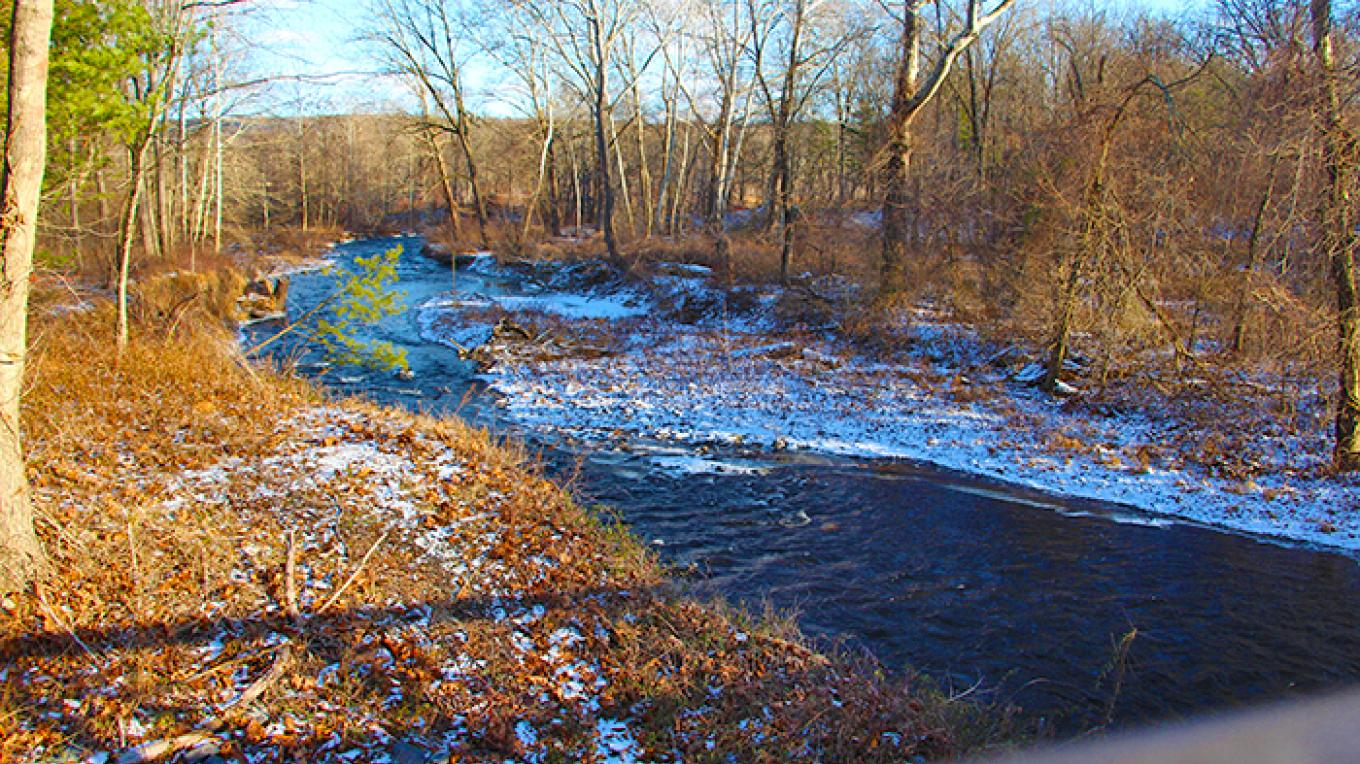 Raymondskill Creek from the bridge along Route 209. – National Park Service