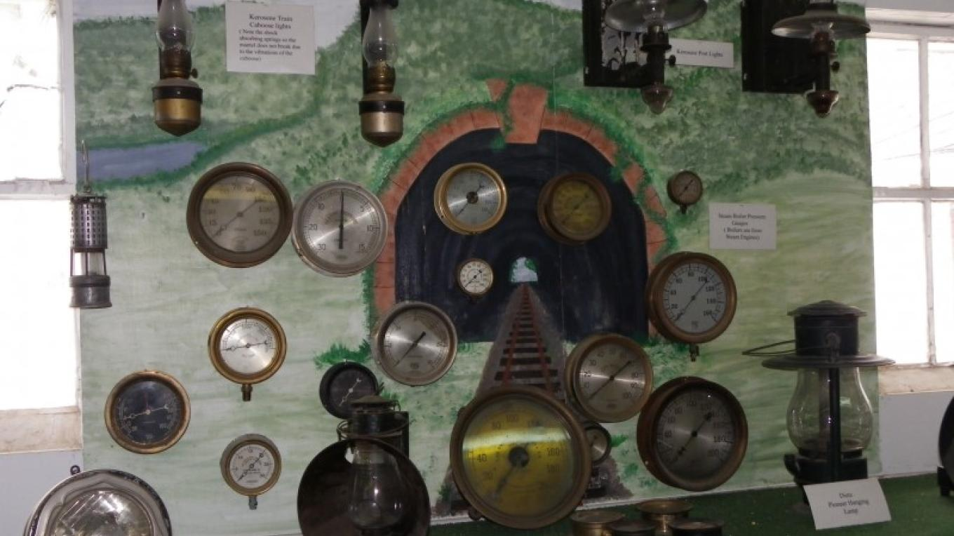 Ralph Space was an eclectic collector. Here is his collection of antique train gauges. – Lori Space Day