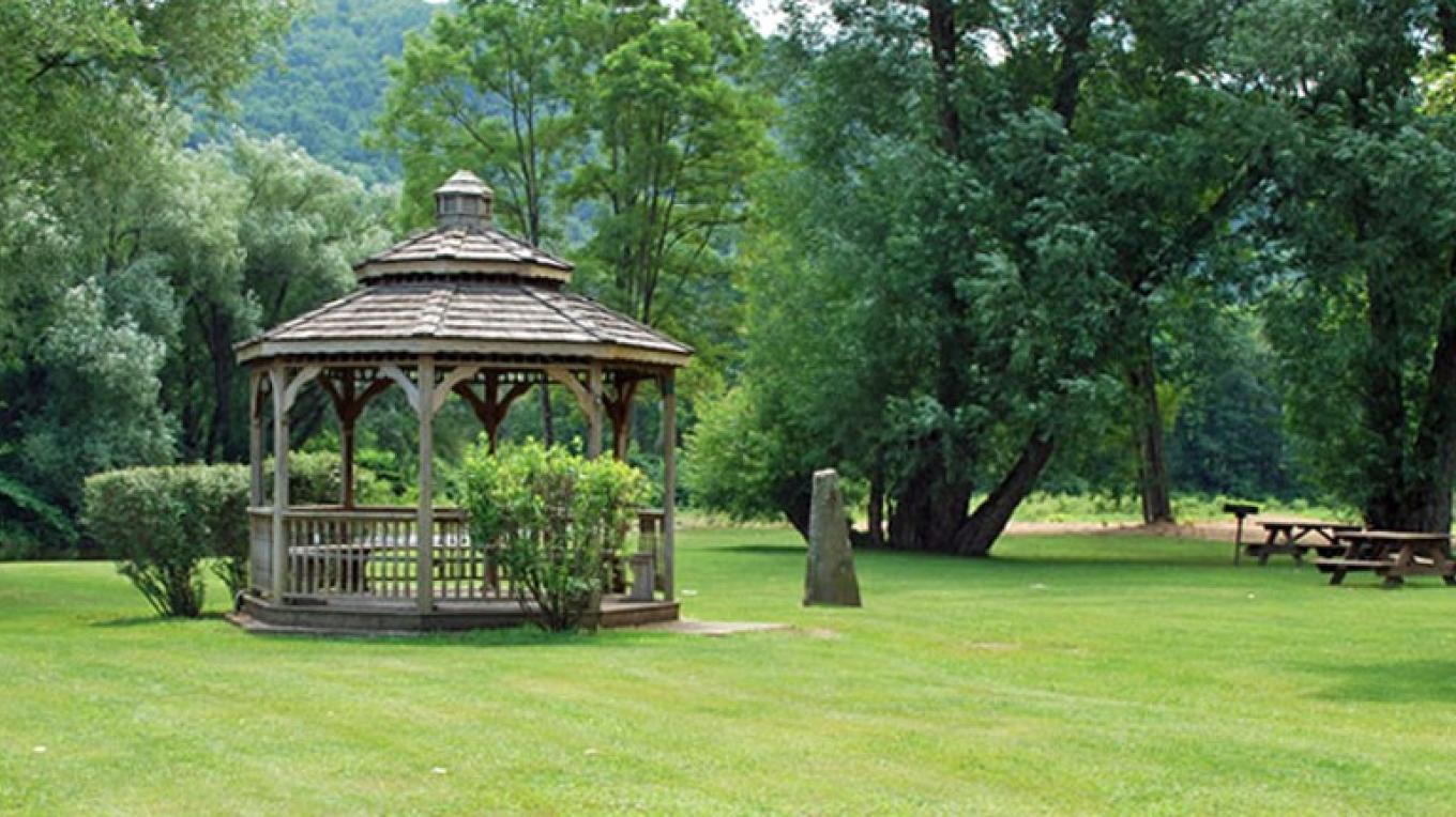 Downsville's Covered Bridge Park Gazebo with picnic area and grills – kay Parisi-Hampel