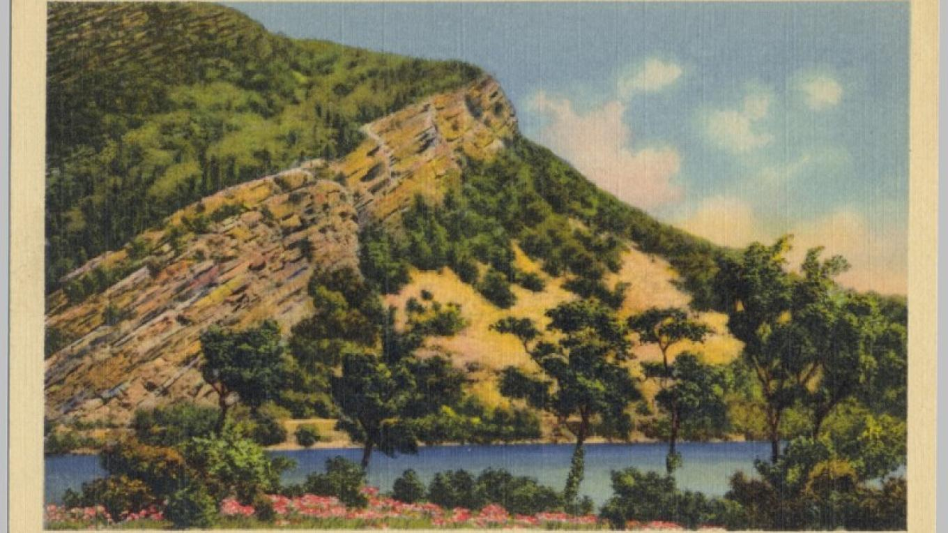 Delaware Water Gap - View East from PA to NJ, looking at the silhouette of the Indian at the top of the exposed rock. – Antique postcards believed to be at least 80 years old.