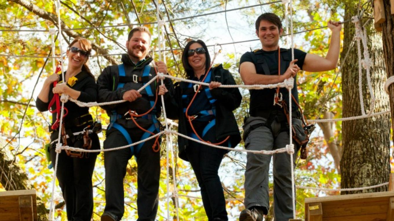 Zip line, tree adventure or both - experience the beauty of the Pocono Mountains from up in the trees at Pocono TreeVentures and Pocono Zip Racer. Route 209 Bushkill, PA. – David Coulter