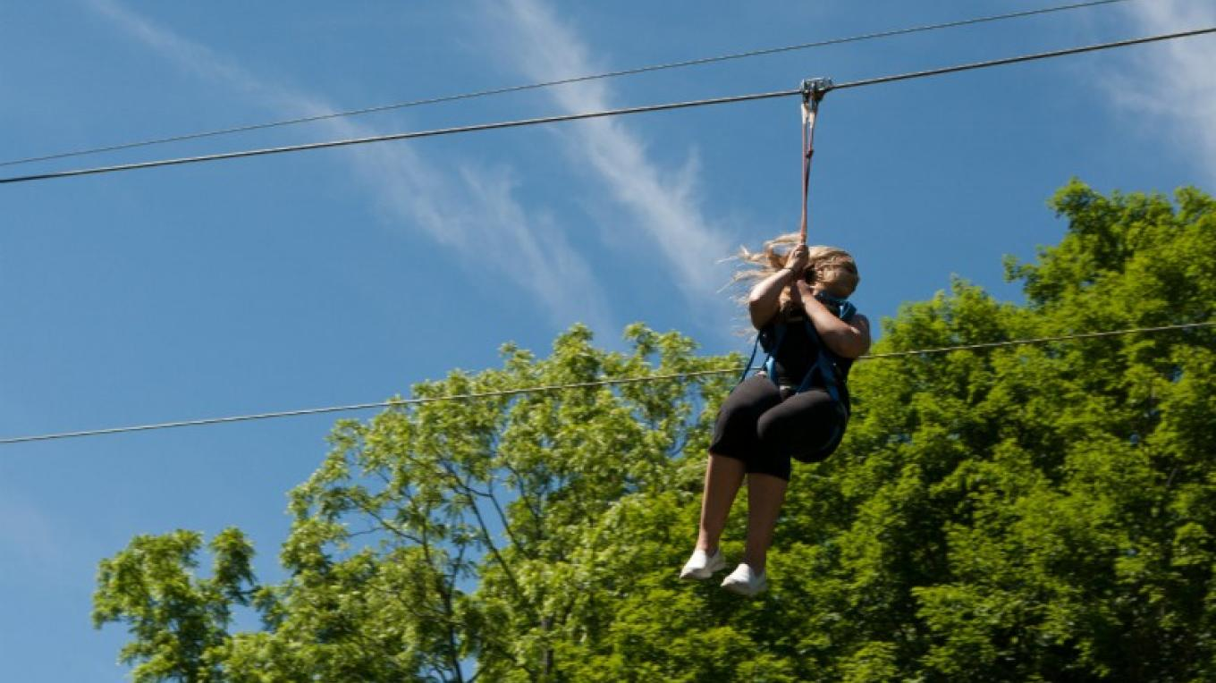 Race your friends, feel the speed, scream your way down the dual 1,000 ft racing zip lines of Pocono Zip Racer in Bushkill, PA. – David Coulter
