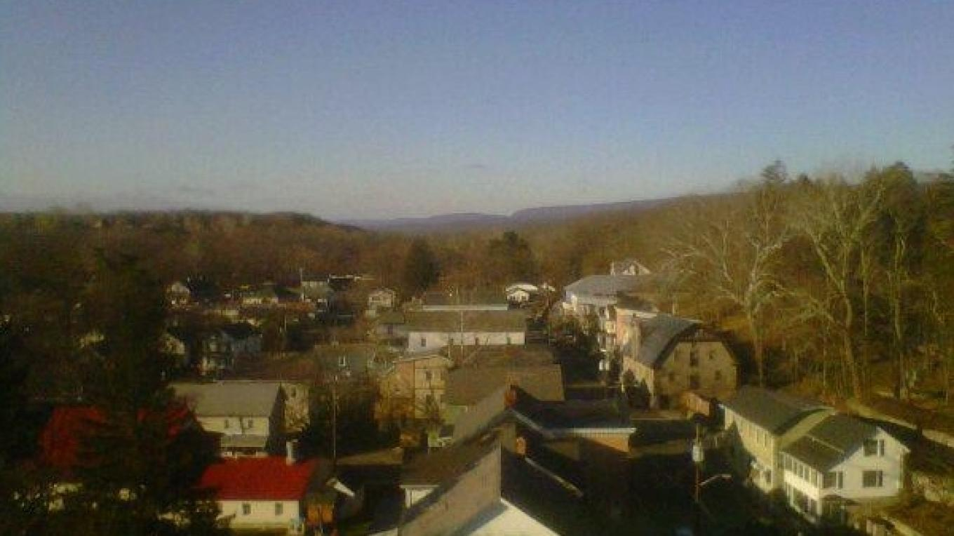 Bird's-eye-view of Blairstown village. The Delaware Water Gap can be seen on the horizon – David Harvey
