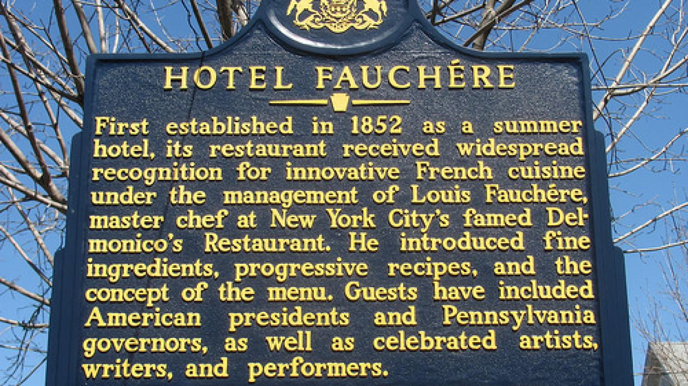 Historic marker outside the hotel.