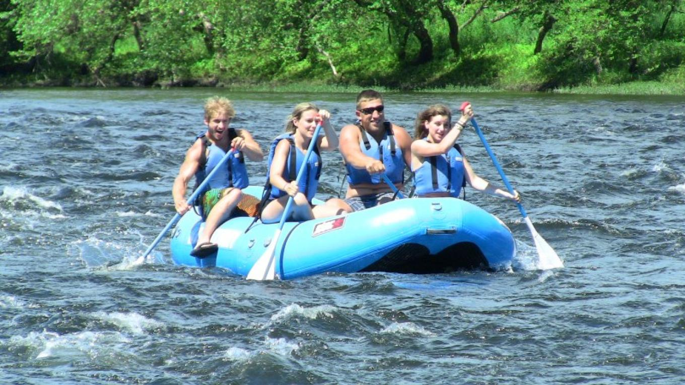 River rafting on the Delaware River is one of the favorite adventure activities to do- choose calm water or one with rapids- fun on the water, sun and friends is a sure win for all! – Kittatinny Canoes, Inc.