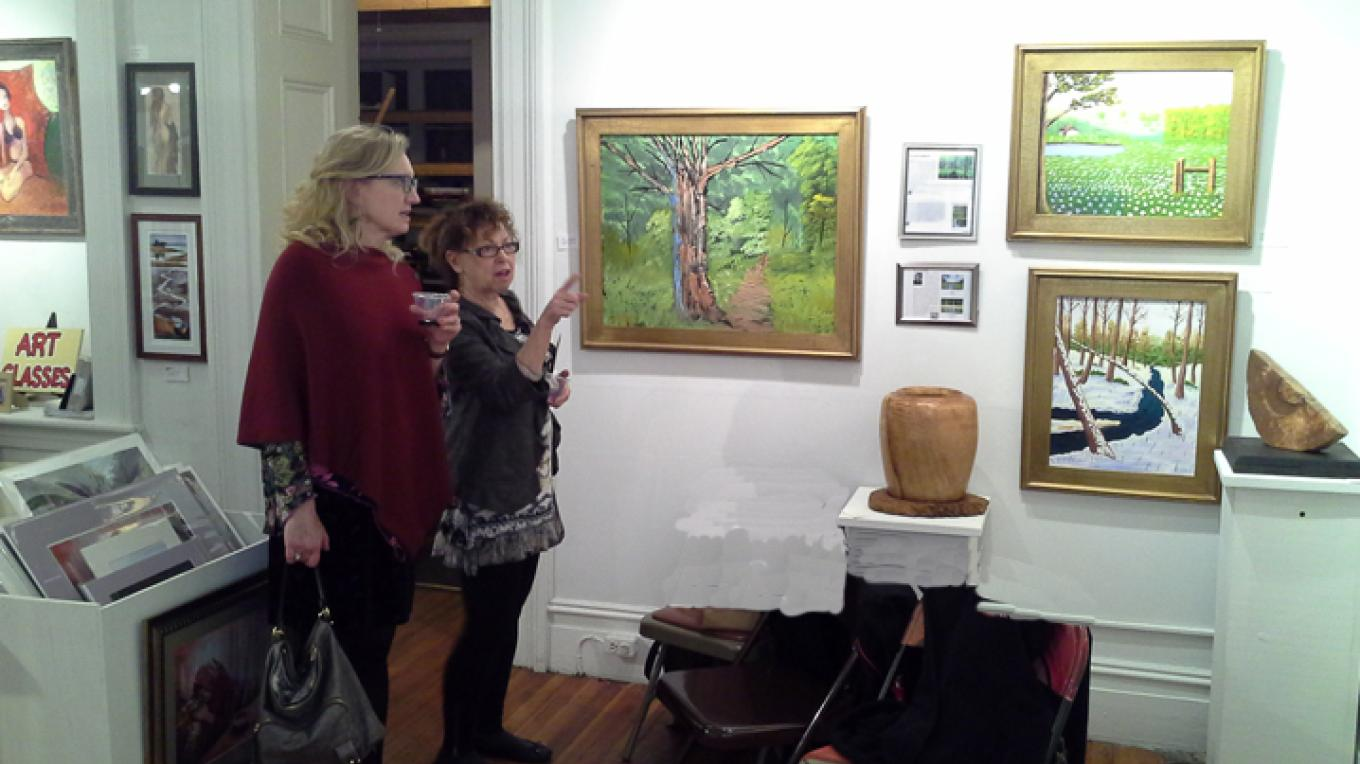 Visitors look at artwork – Rosalind Hodgkins