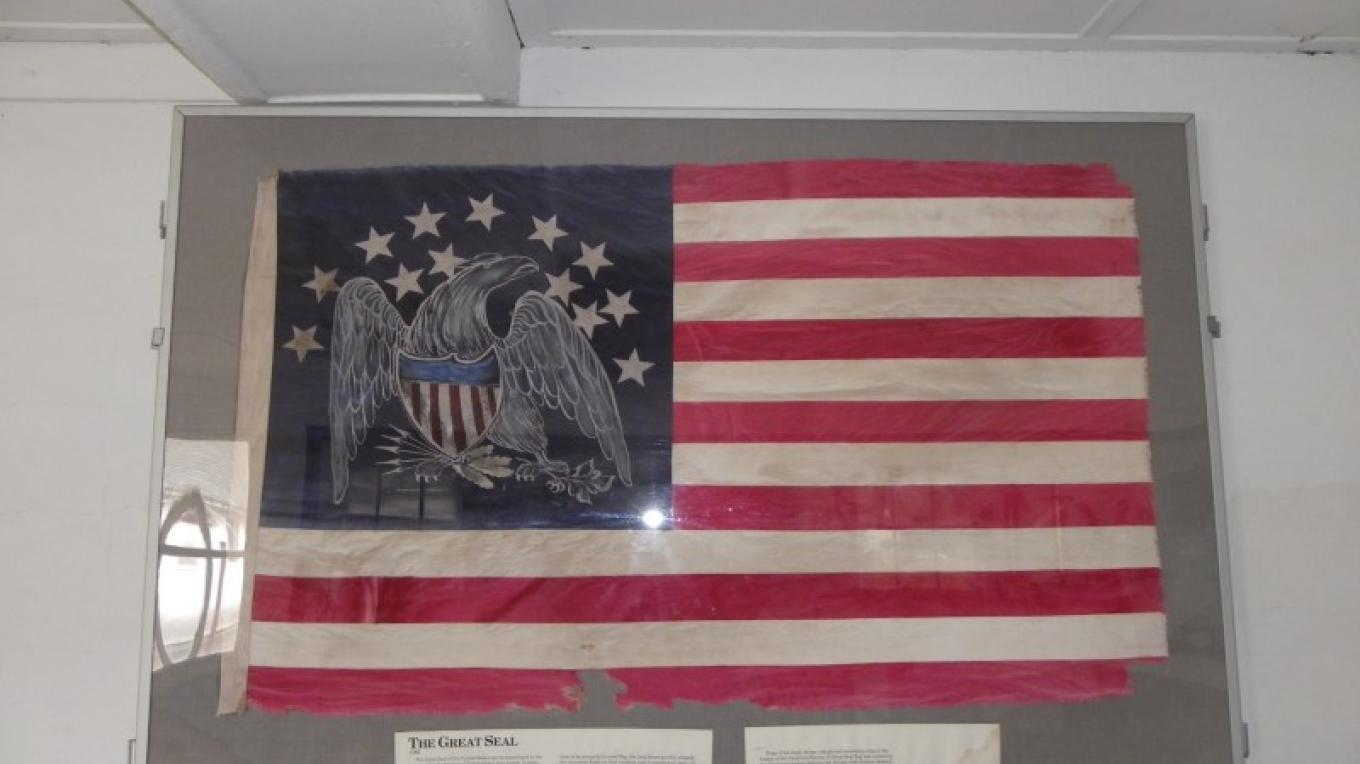 The Space Farms Museum halls are decorated with a replica antique flag collection. – Lori Space Day