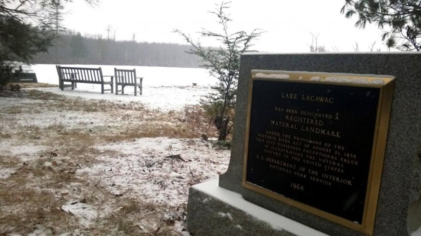 Lake Lacawac in Winter--National Natural Landmark marker