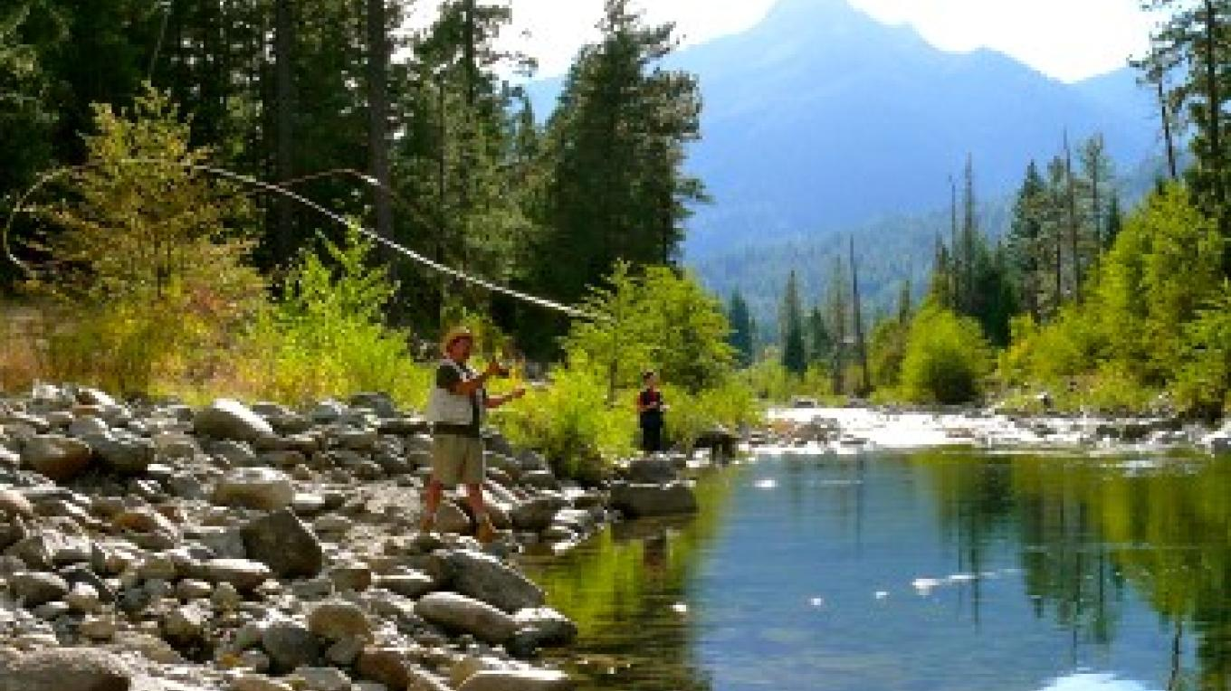Stream fishing for Rainbow and German Brown Trout is right off your front doorstep in the Trinity River. There are additional streams nearby or you can hike one of the trails and fish the glacial lakes of Trinity Country.