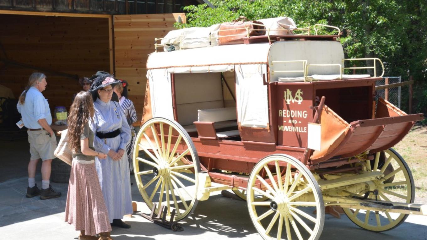 Photo of a restored stagecoach on display during Pioneer Day, held each spring in Downtown Weaverville.