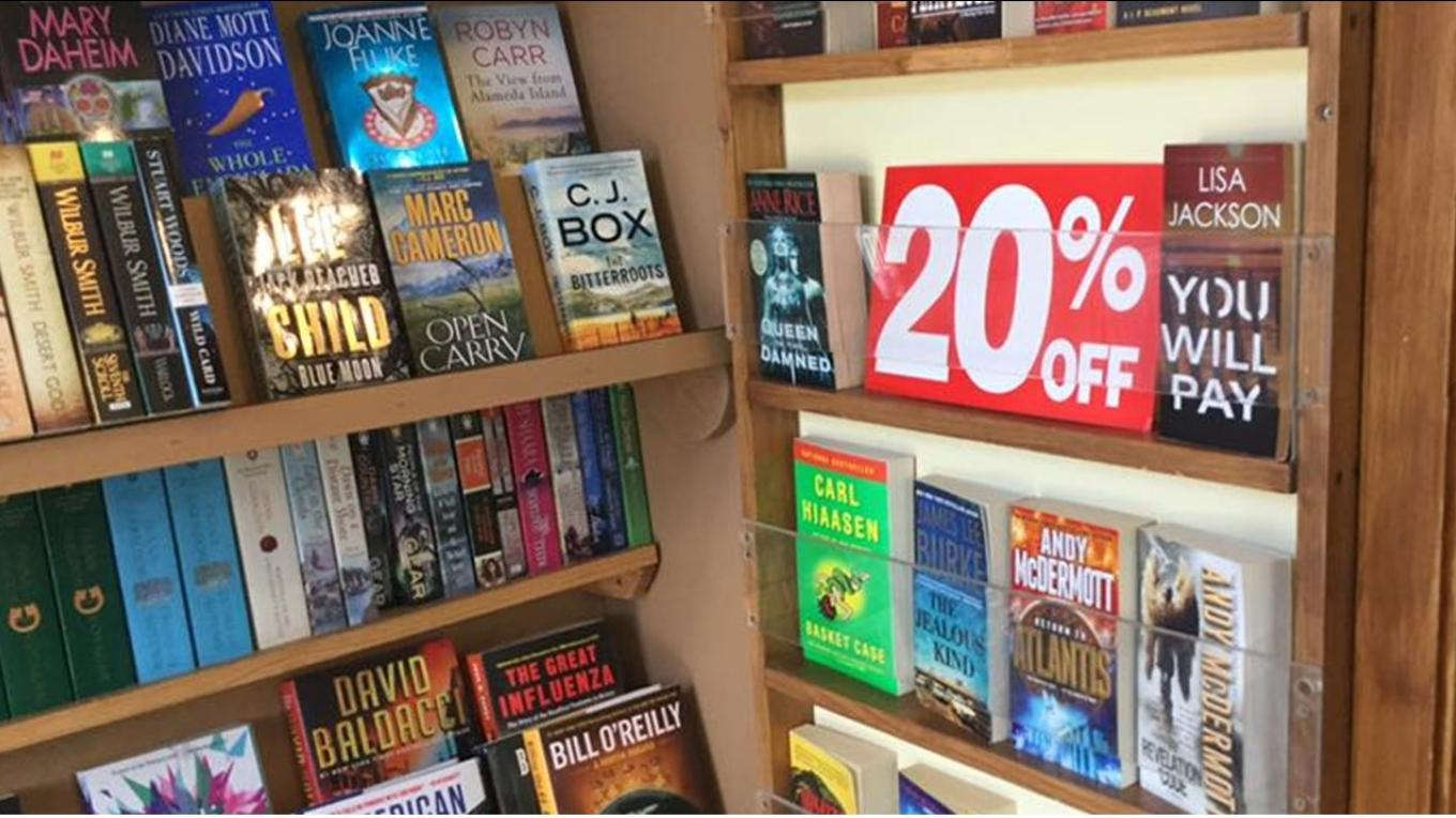 With a good selection of used books in fine condition and local authors as well as popular newly published books, something is always on sale.