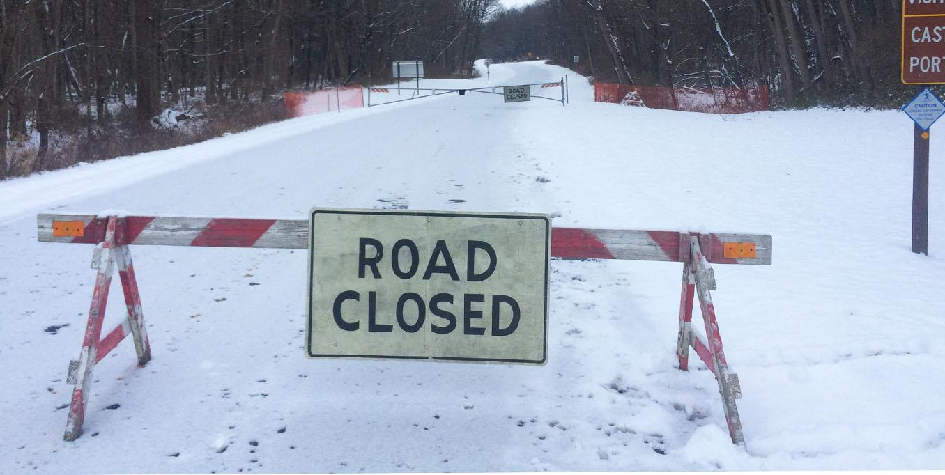 The road closure between Letchworth State Park's Perry and Castile entrances. Photo by Letchworth State Park.