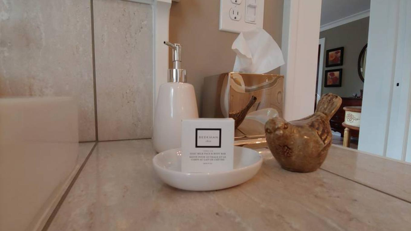 BrickInn bathrooms feature the Fresh Air collection from Beekman 1802 goat milk beauty products, produced in upstate New York