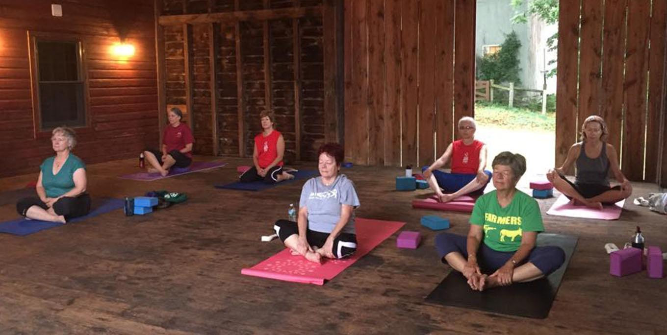 Yoga class in a barn at True North Yoga. Photo from business.