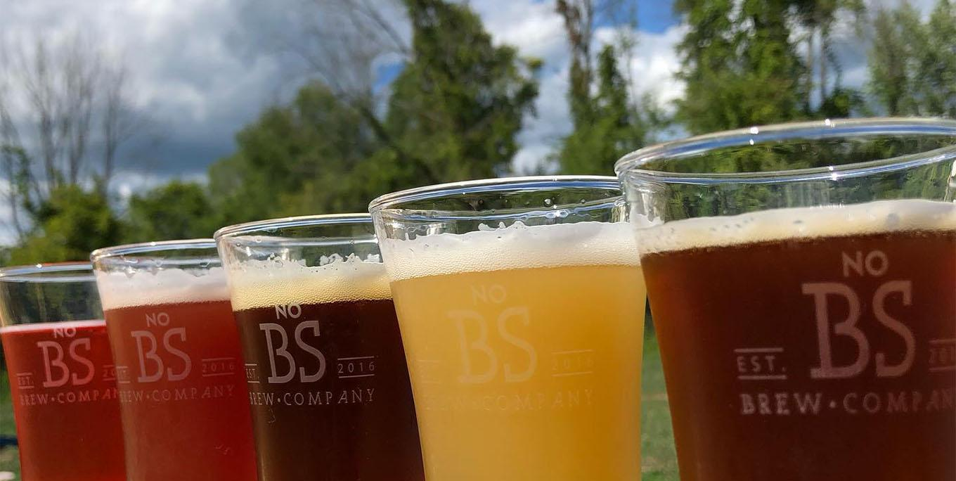Lineup of beers at No BS Brew Company. Photo by brewery.