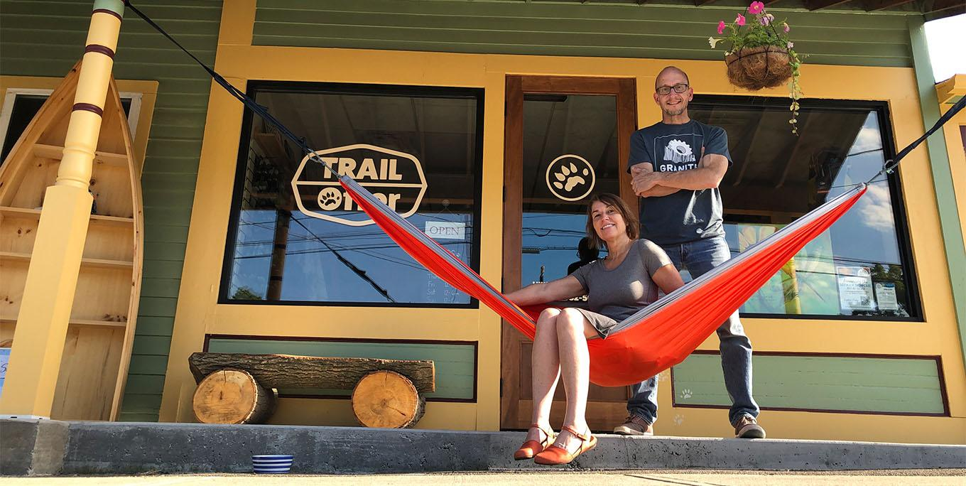Bill Waterhouse and Sonni Olbert outside of Trail Otter.