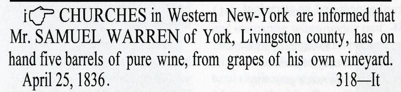 An ad for Samuel Warren's wine in the April 1836 issue of the New York Evangelist.