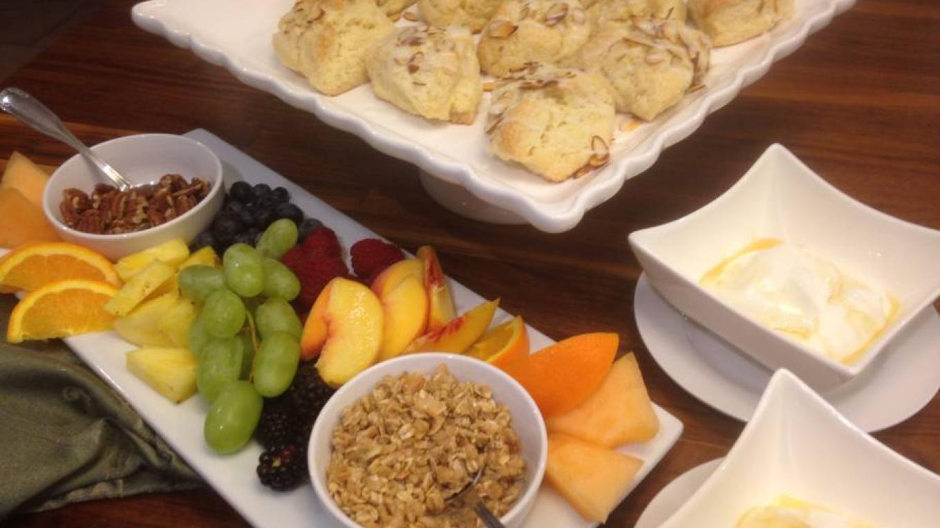 One of our Lite breakfast options, Greek yogurt with local honey drizzle, fresh fruit, granola and nut garnish. Served with fresh baked scones, coffee/tea/juice