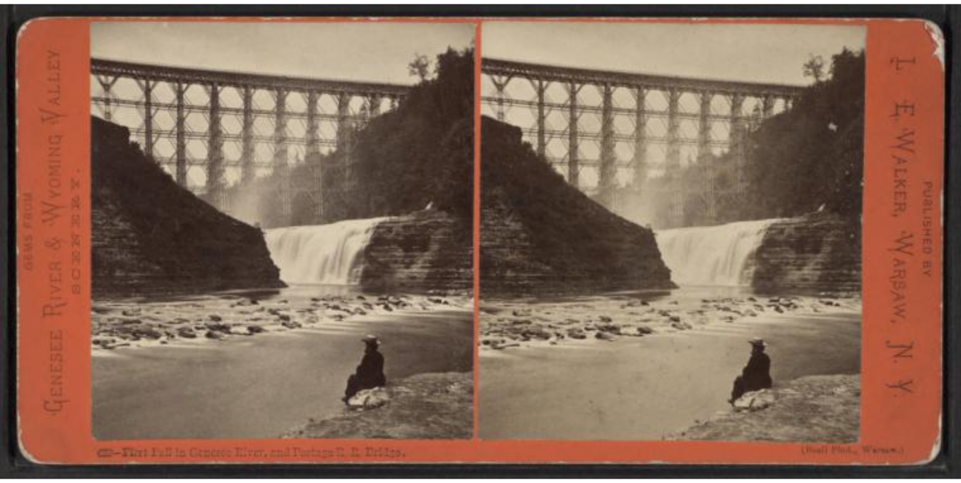 First Fall in Genesee River and Portage Railroad Bridge, 1870. Photo from New York Public Library Digital Collections.
