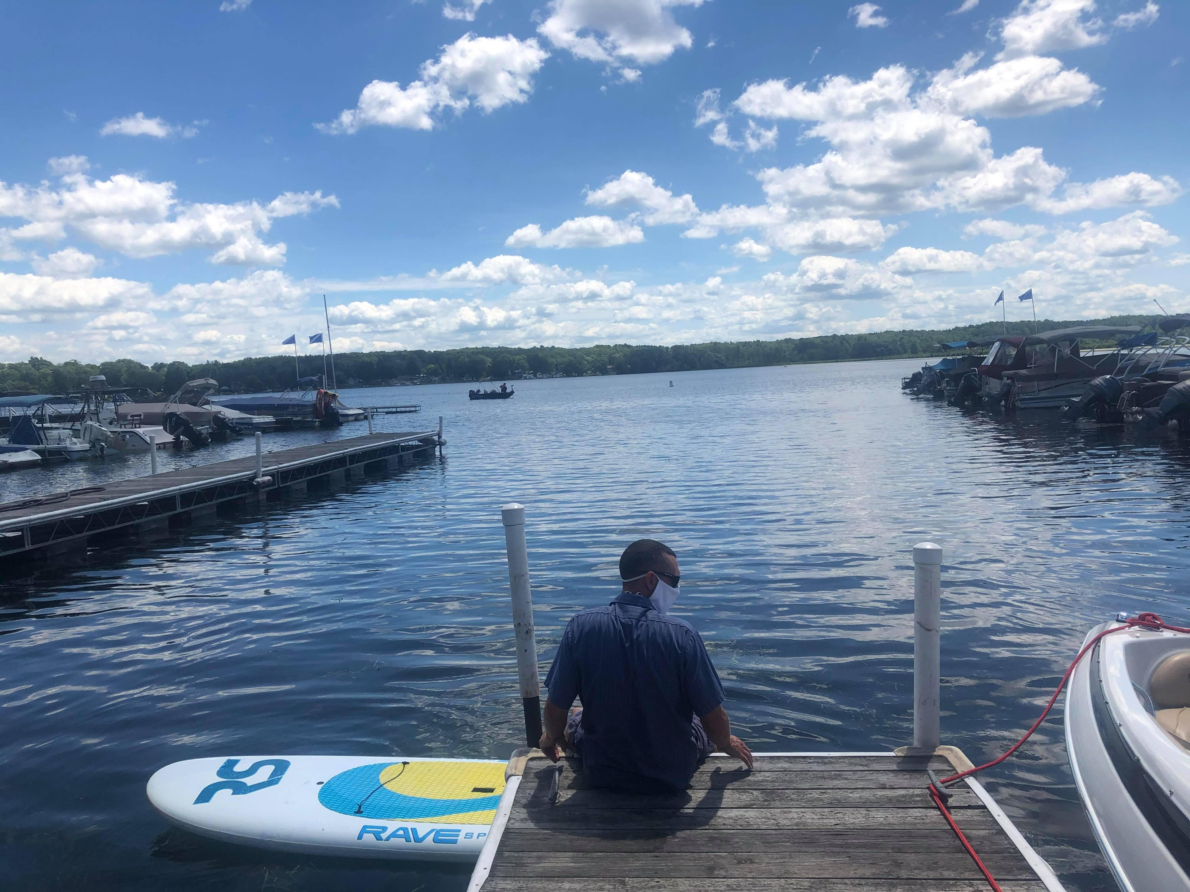 A staff member at Silver Lake Marine assists with our launch