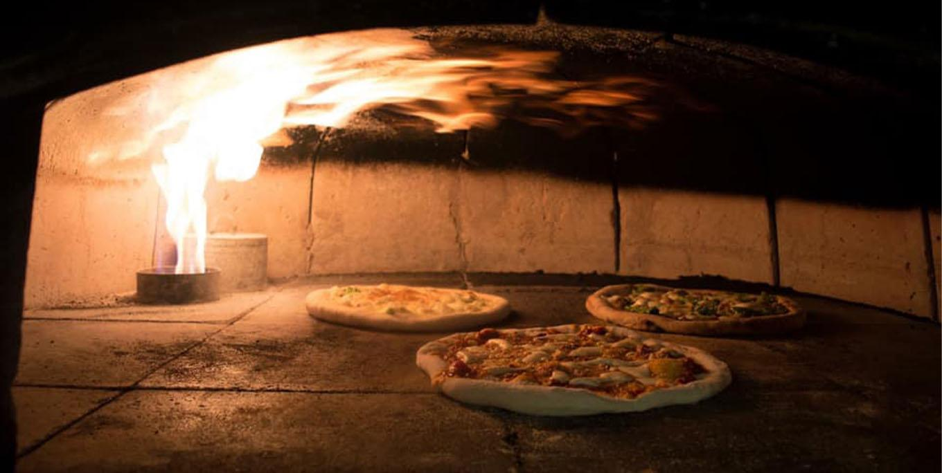 The pizza oven at the Hole in the Wall Restaurant in Perry.