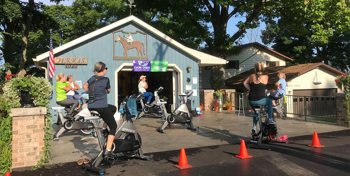 Outdoor class at Cycle Craze. Photo from business.