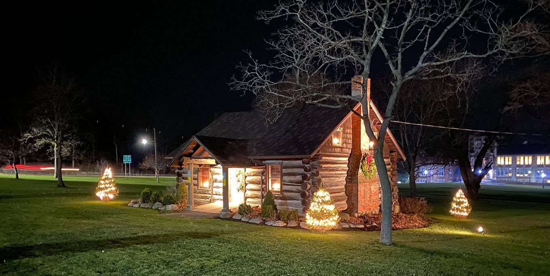 Geneseo's log cabin in Village Park. Photo by Robert Sutor.