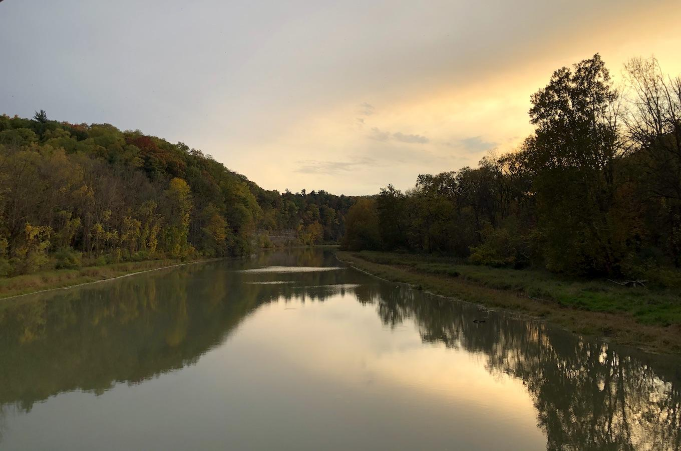 View of the Genesee River from the Mount Morris bridge