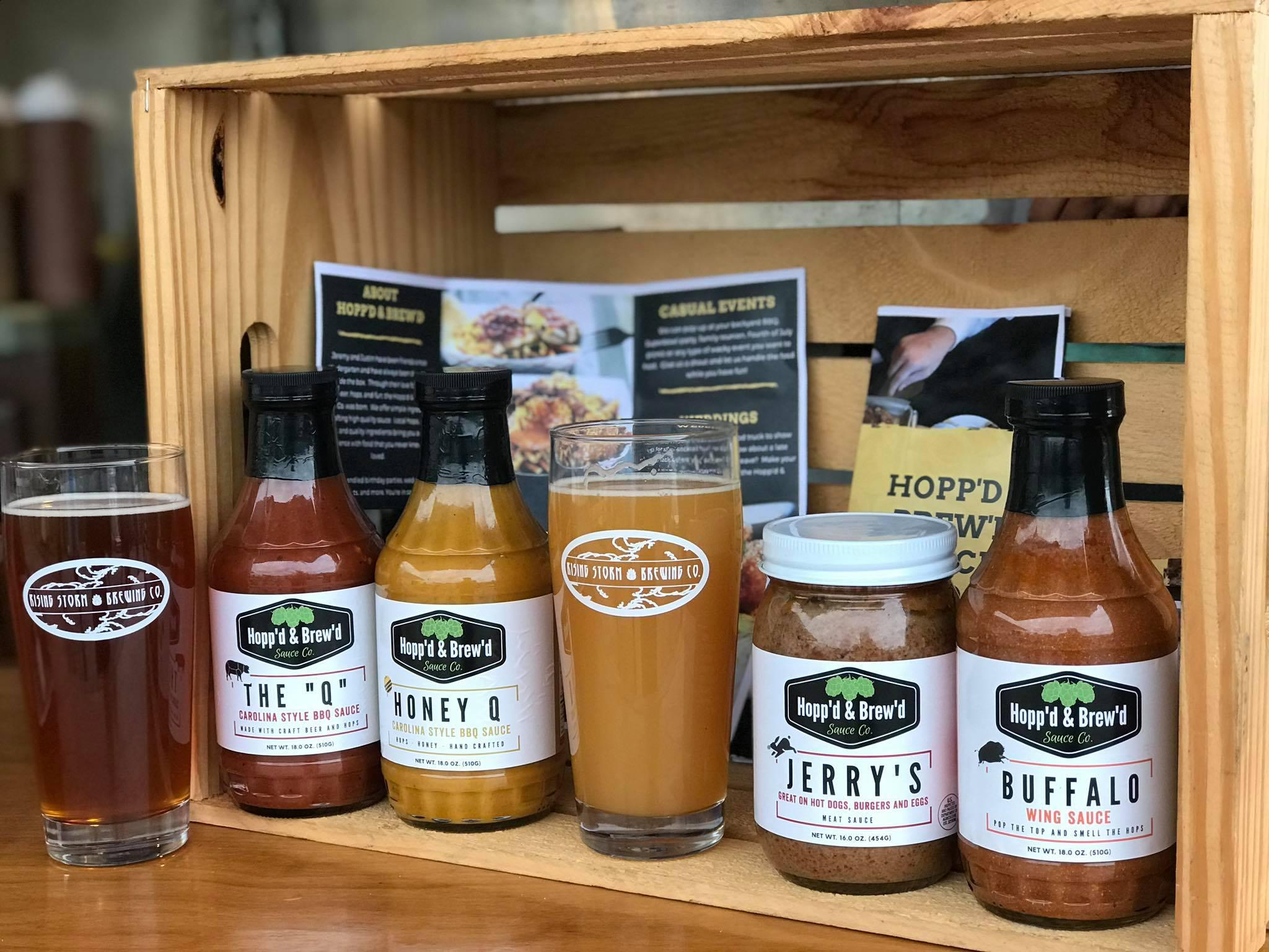 Hopp'd and Brew'd sauces at Rising Storm Brewing Company in Livonia.