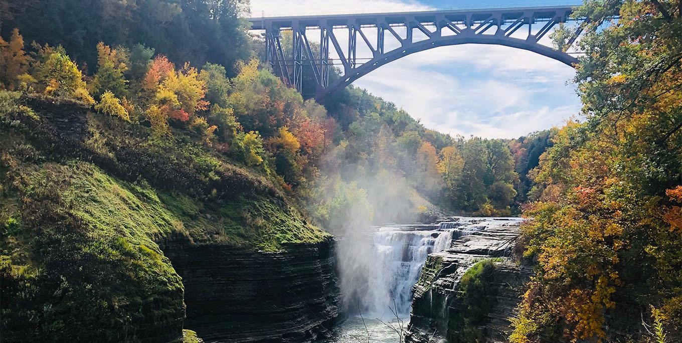 The Upper Falls at Letchworth State Park in fall. Photo by Sarah Keeler.