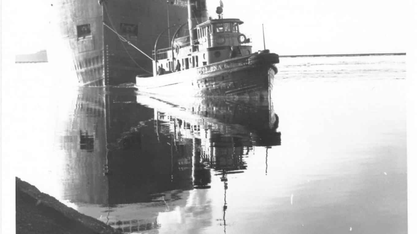 Edna G makes her last tow, 1981 – Lake County Historical Society Archives
