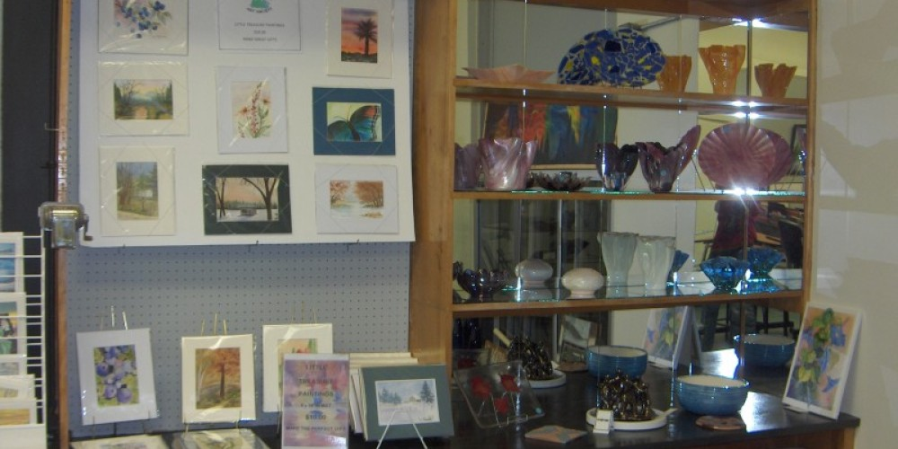 part of the display area in the Northland Art Room of the Backus Community Center