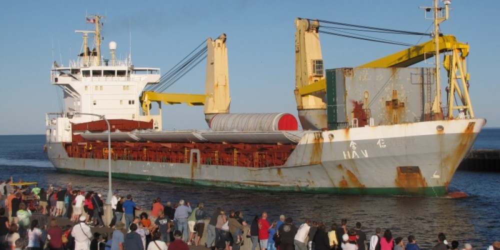 Arrival of the ocean vessel Han Xin – US Army Corps of Engineers