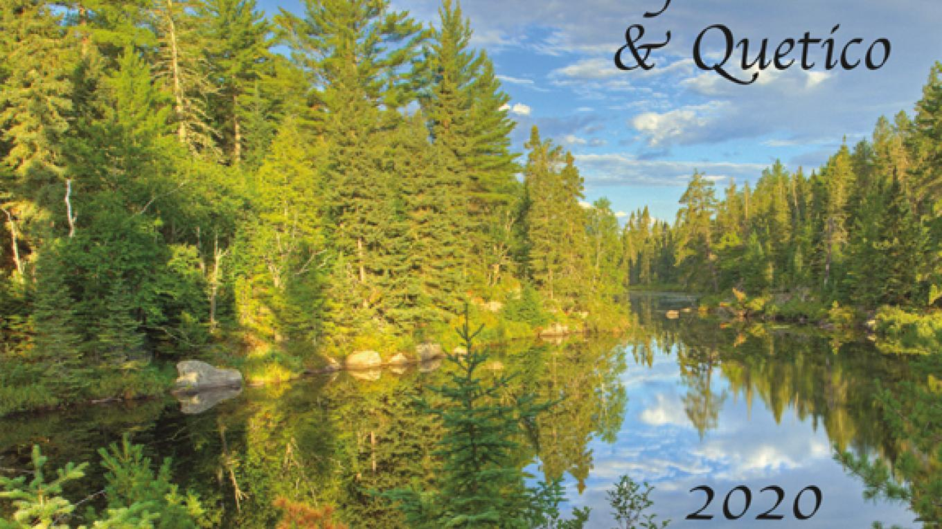 "12 outstanding photos of the Quetico and Boundary Waters Canoe Area Wilderness in a 9""x12"" wall calendar for 2020. Also information on permits, hunting and fishing season, moon phases, and much more. – Gary Hamer"