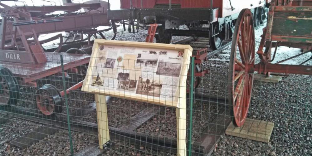 Sleigh, Hand Car, Velocipede, and Wagon interpretative panel display. – Mel Sando
