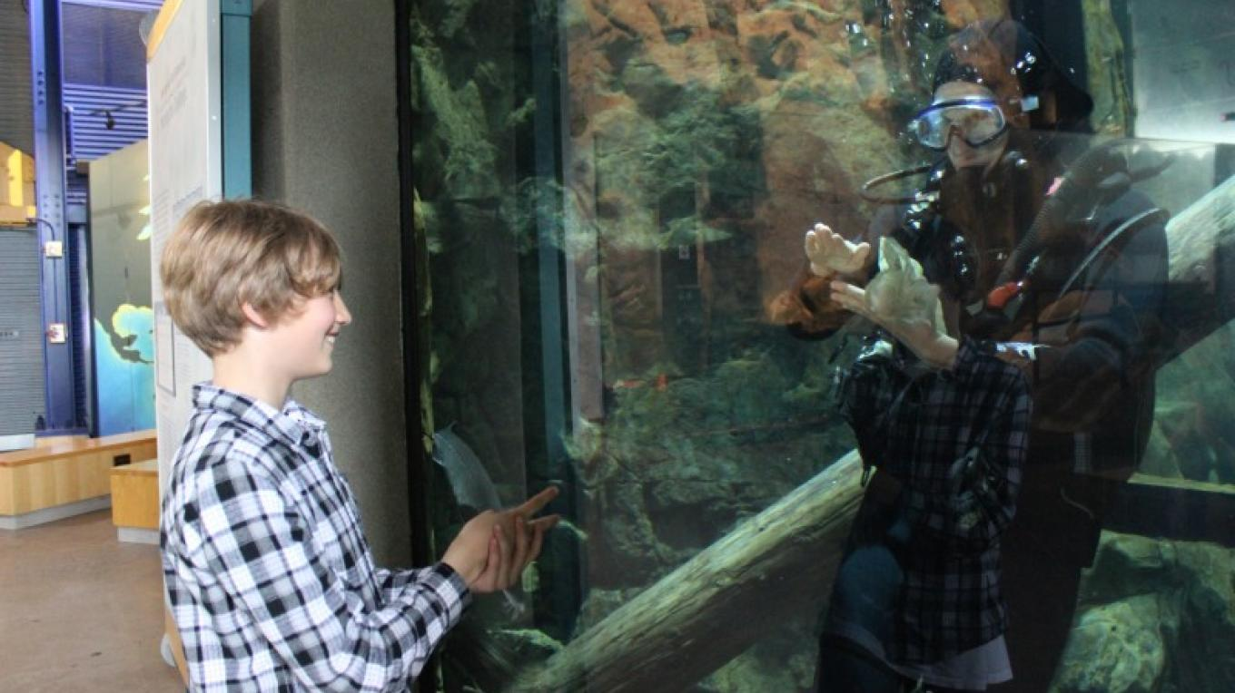 Playing Rock/Paper/Scissors with Isle Royale diver. – Allison Iacone