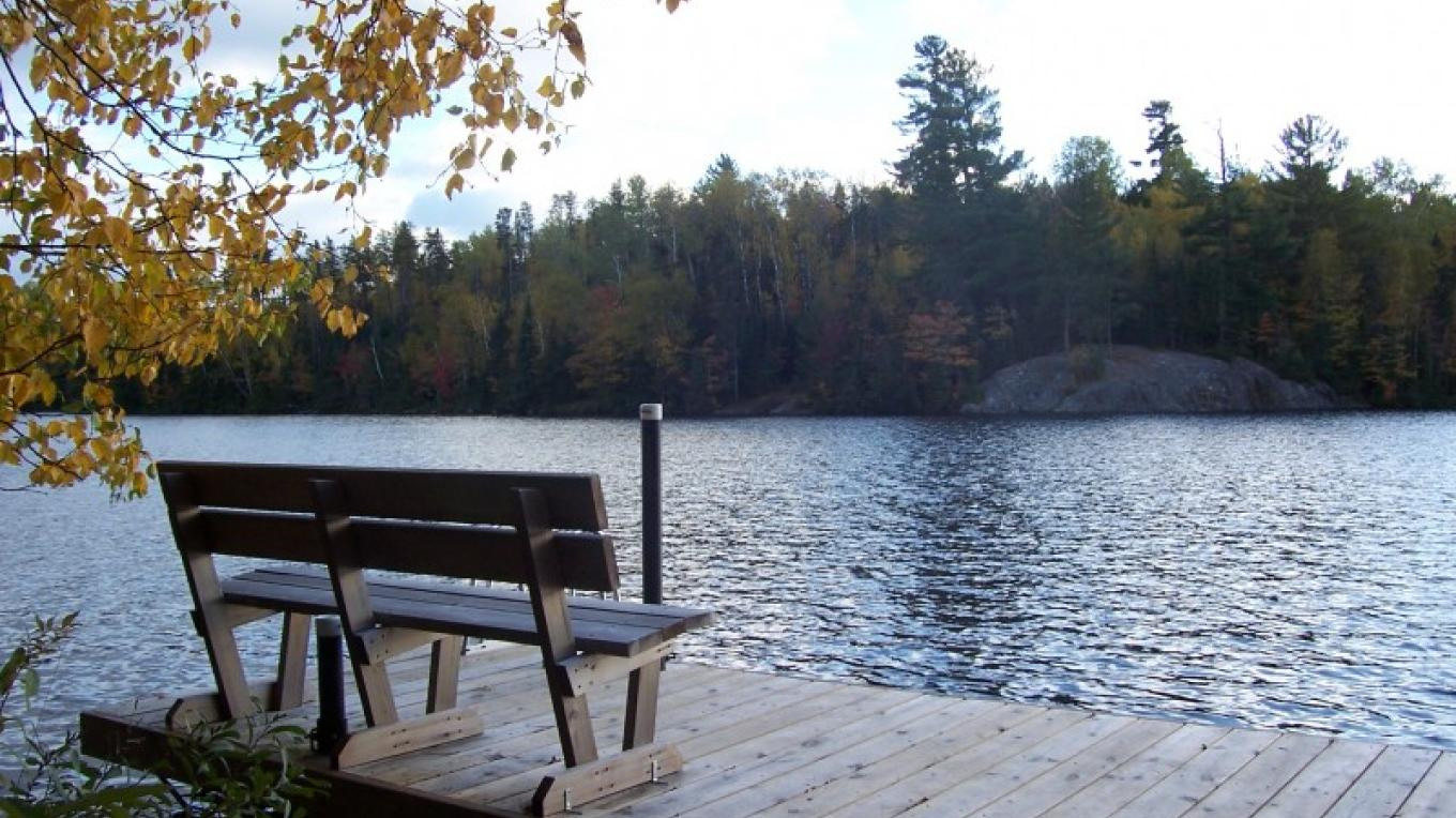 Private Dock with sitting bench at each cabin – Owner