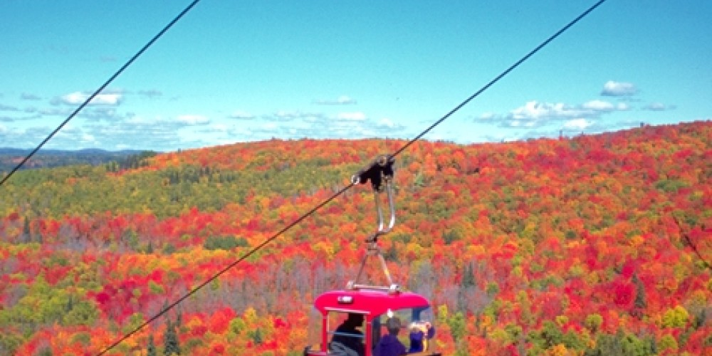 Lutsen Mountain Tram is a popular activity to view fall colors on Minnesota's North Shore of Lake Superior.