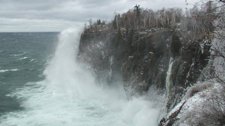 November storms batter the lighthouse cliff – Lee Radzak