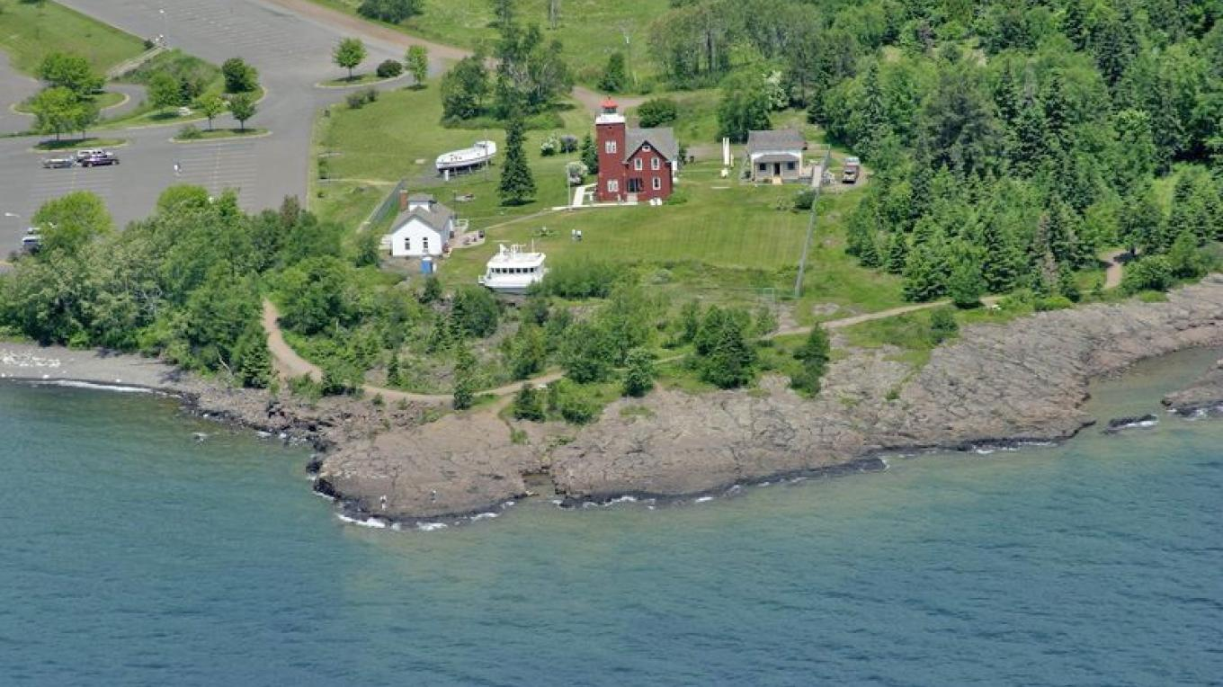 Arial View of the Two Harbors Light Station – Lake County Historical Society
