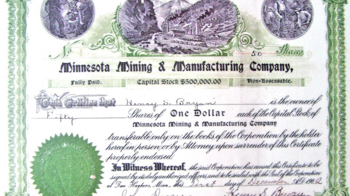 Copy of original 3M stock certificate – Mel Sando