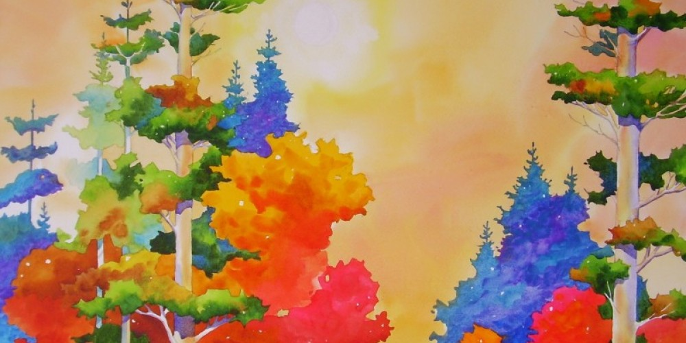 """""""Old Growth White Pines"""", produced to capture the large scale of the pines against the brilliant autumn undergrowth."""