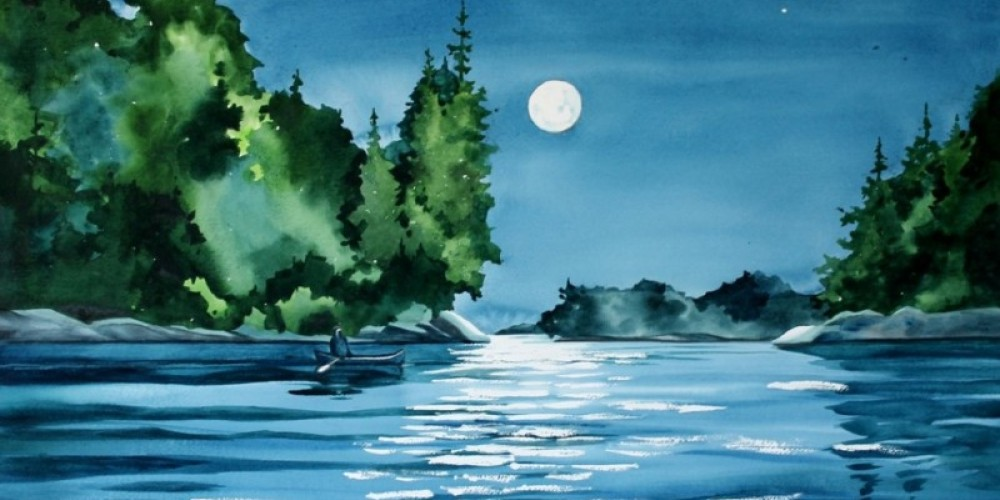 """""""Moonlight Paddle"""", depicts the reflected sparkle and mystery of a lake scene during a full moon evening."""