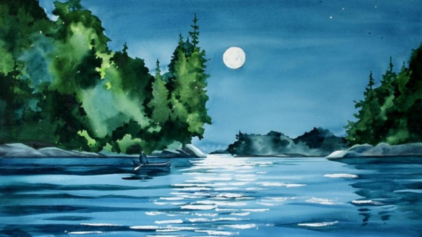 """Moonlight Paddle"", depicts the reflected sparkle and mystery of a lake scene during a full moon evening."