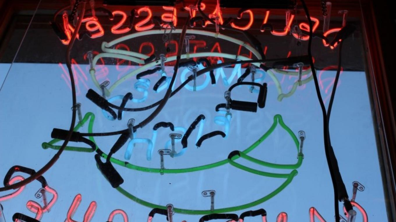 The neon sign in the window of Northern Waters Smokehaus. – Mary K Tennis